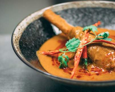 Dish prepared and served at Bombay Brasserie