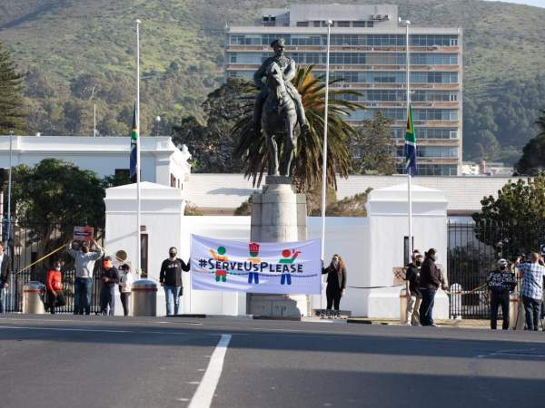 serve us please protest in cape town