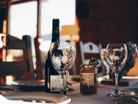 wine bottle on table