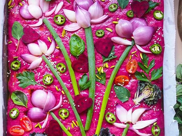 pink focaccia garden