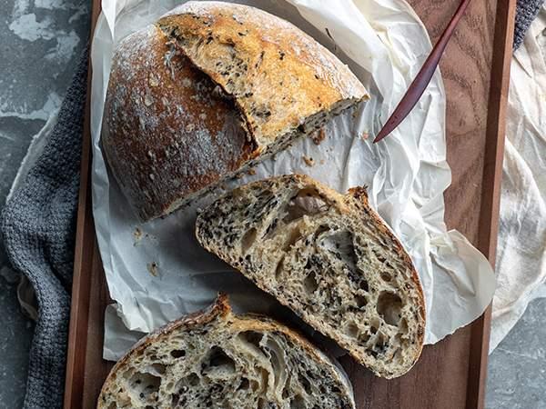 sourdough on bread board