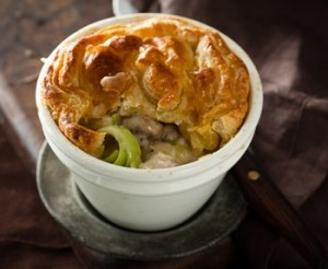 Mini chicken leek pie