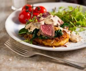 Rump steak with Amarula mushroom sauce