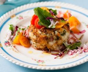 hake and potato fishcakes with tomato salsa